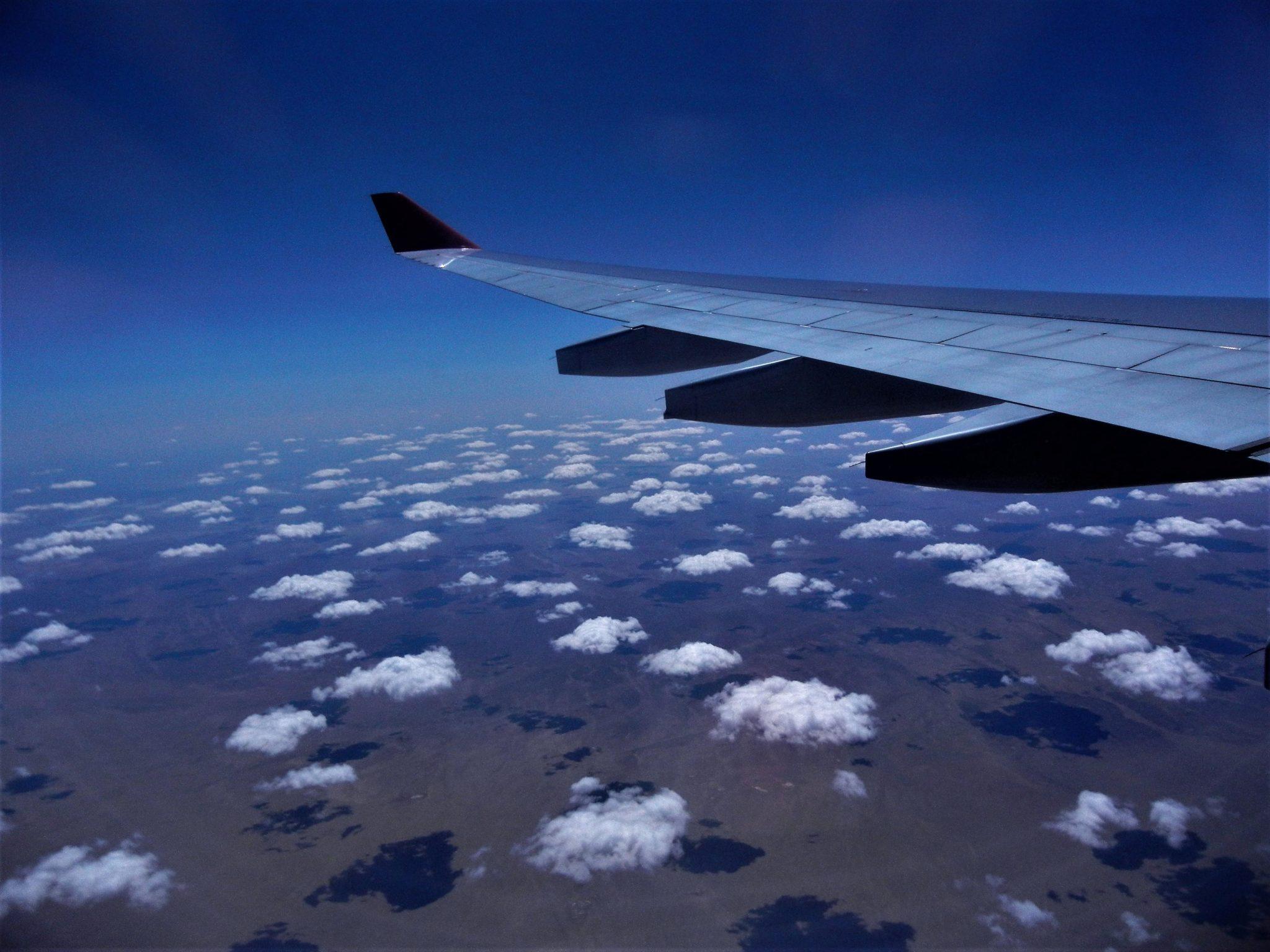 Pohled z letadla společnosti Ryanair
